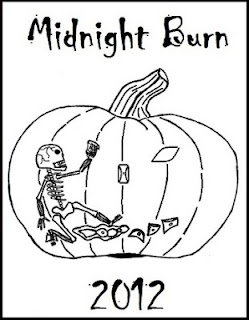 Skeleton climbing a pumpkin with climbing holds