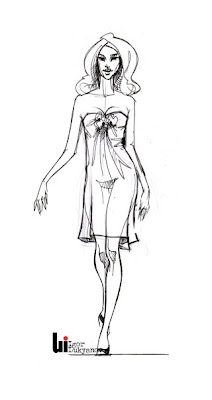 catwalk fashion sketch (sketching a walking fashion model)