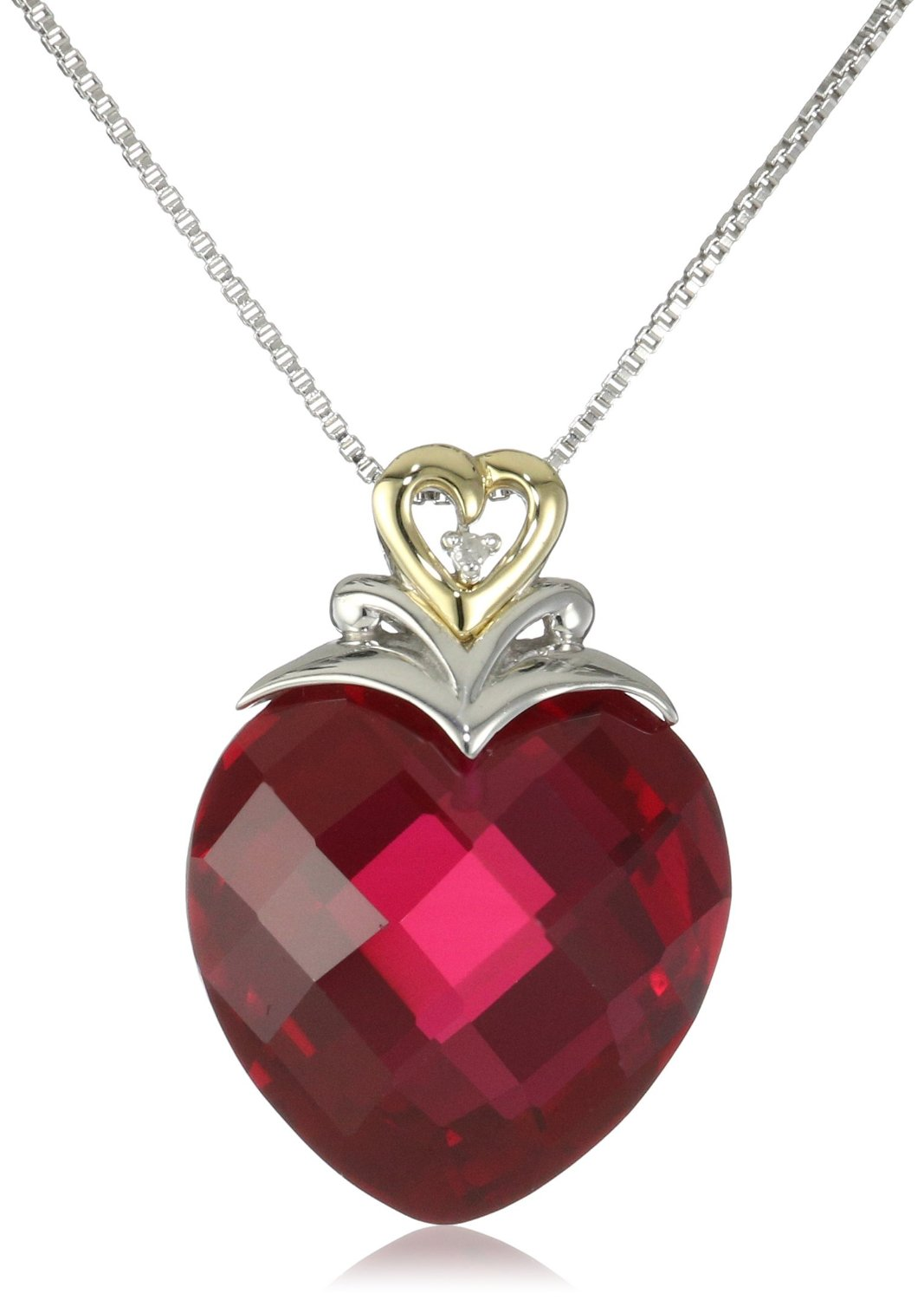Beautiful ruby jewelry pictures pinteresting pictures xpy sterling silver and 14k yellow gold created ruby heart and diamond accent pendant necklace aloadofball Gallery
