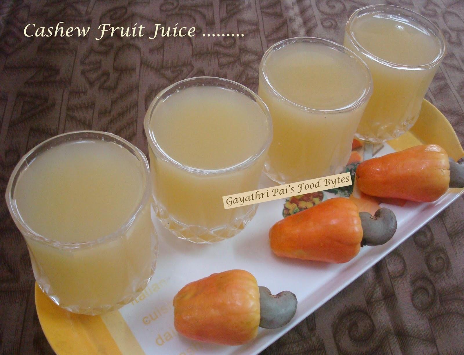 Gayathri Pai's Food Bytes: Chilled Cashew Fruit Juice.