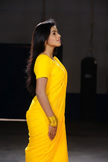 Poorna New Pictures in Yellow saree 001.jpg