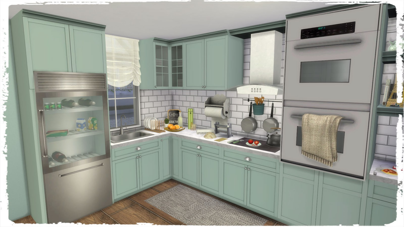 Sims 4 kitchen with laundry dinha