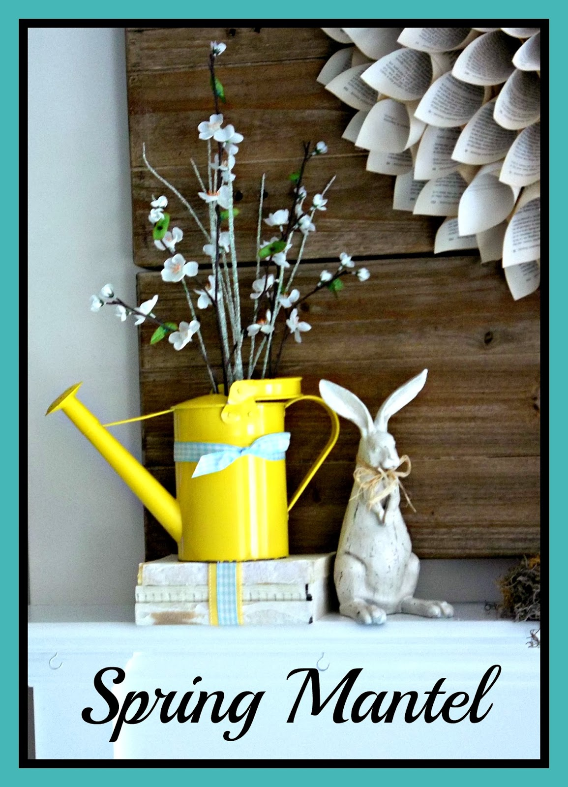Spring Mantel - vintage rabbit and watering can