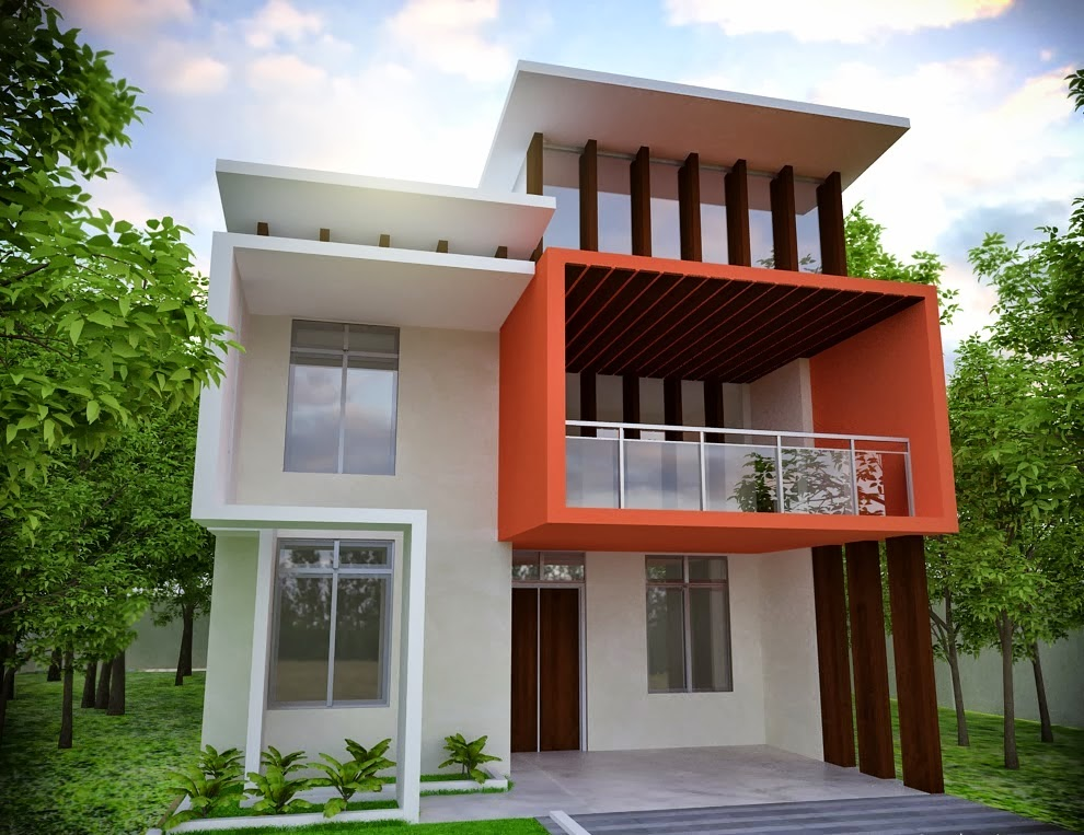 Foundation dezin decor modern house front elevation for Colores exteriores para casas modernas