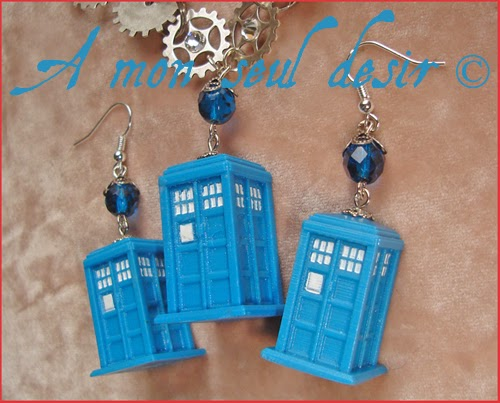 Parure Bijoux Tardis Docteur Who Steampunk Collier Boucles d'Oreilles rouages gears Doctor Who Jewellery Set