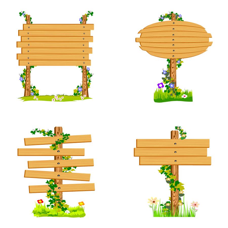 蔓の巻いた木製掲示板 Wood signs vector イラスト素材