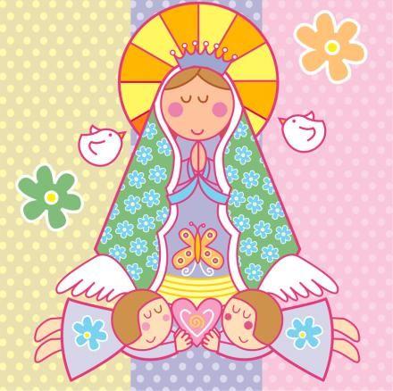 Virgen rodeada de angeles para imprimir