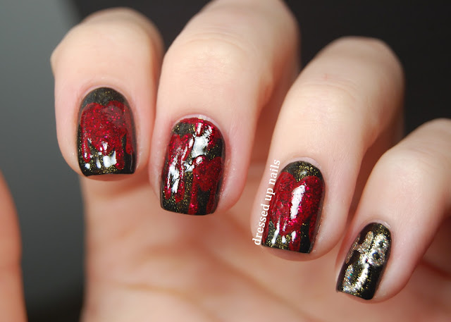 Dressed Up Nails - bleeding heart anti-Valentine's Day nail art