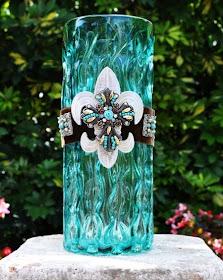 Flowing Turquoise Fleur de Lis Vase