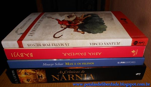 Livros Abril caixa de correio, Nárnia, Moacyr Scliar, Babyji, Já matei por menos