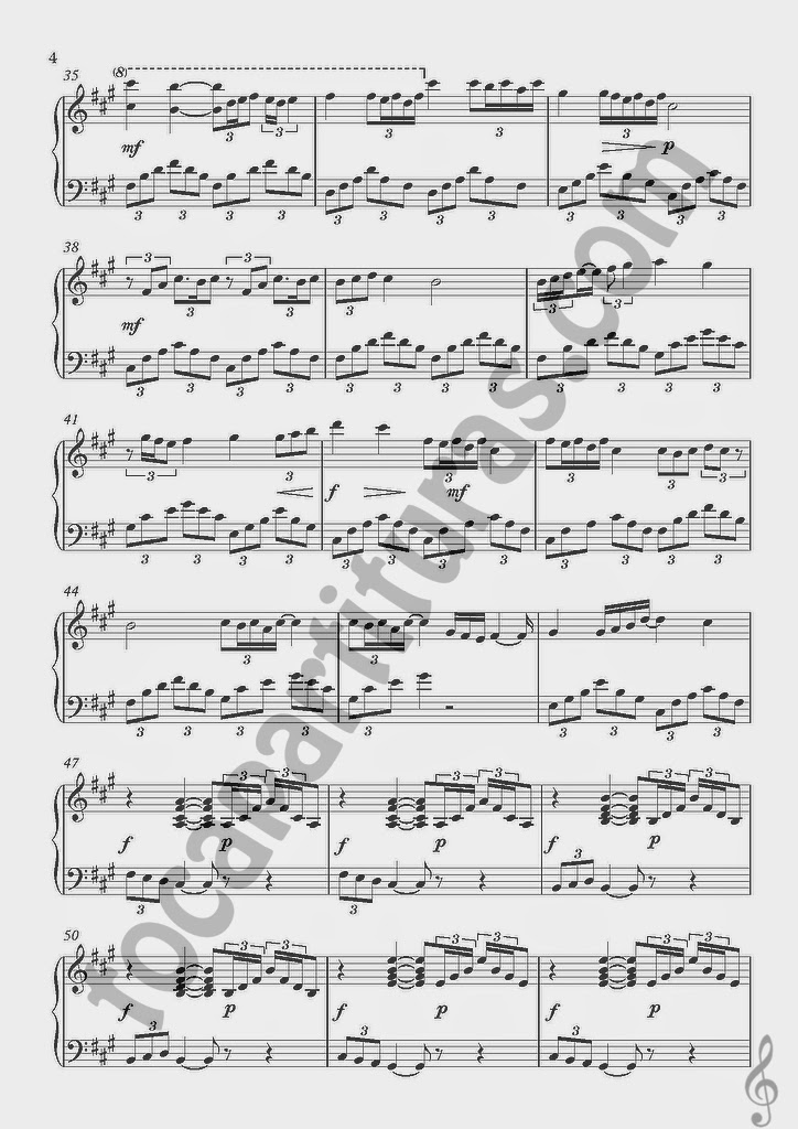 3 Partitura de Piano de Lágrimas de Seda por Piano San. Tears Silk Sheet Music for Piano