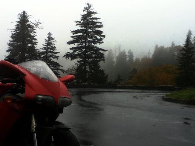 Ducati in the fog of the Great Smoky Mountains