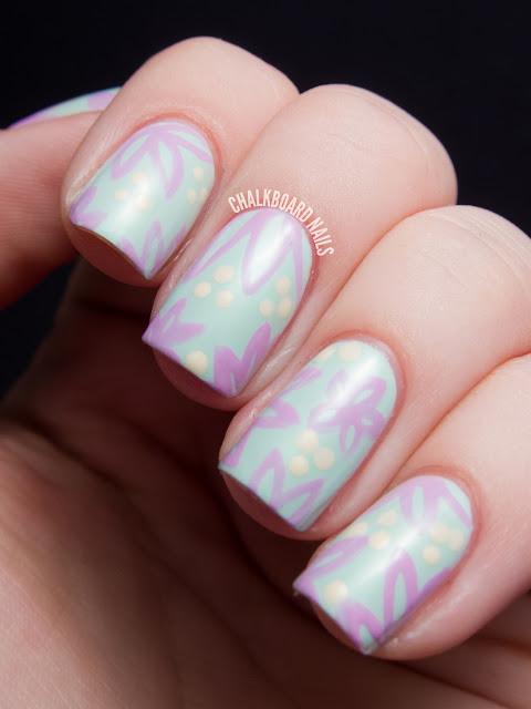 Chalkboard Nails: Pastel floral nail art