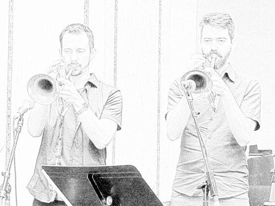 James Davis and Chad McCullough   jazz flugelhorn   Chicago Jazz Festival   Photograph by Tom Bowser