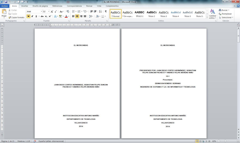Trabajo en Word aplicando normas incontec: noviembre 2014