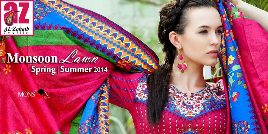 MonsoonLawn2014ByAl ZohaibTextile wwwfashionhuntworldblogspotcom 001 - Monsoon Lawn Spring/Summer Collection 2014