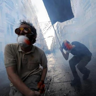 Taksim Square in central Istanbul to disperse hundreds of protesters in second day of violent protests against the Turkish government..