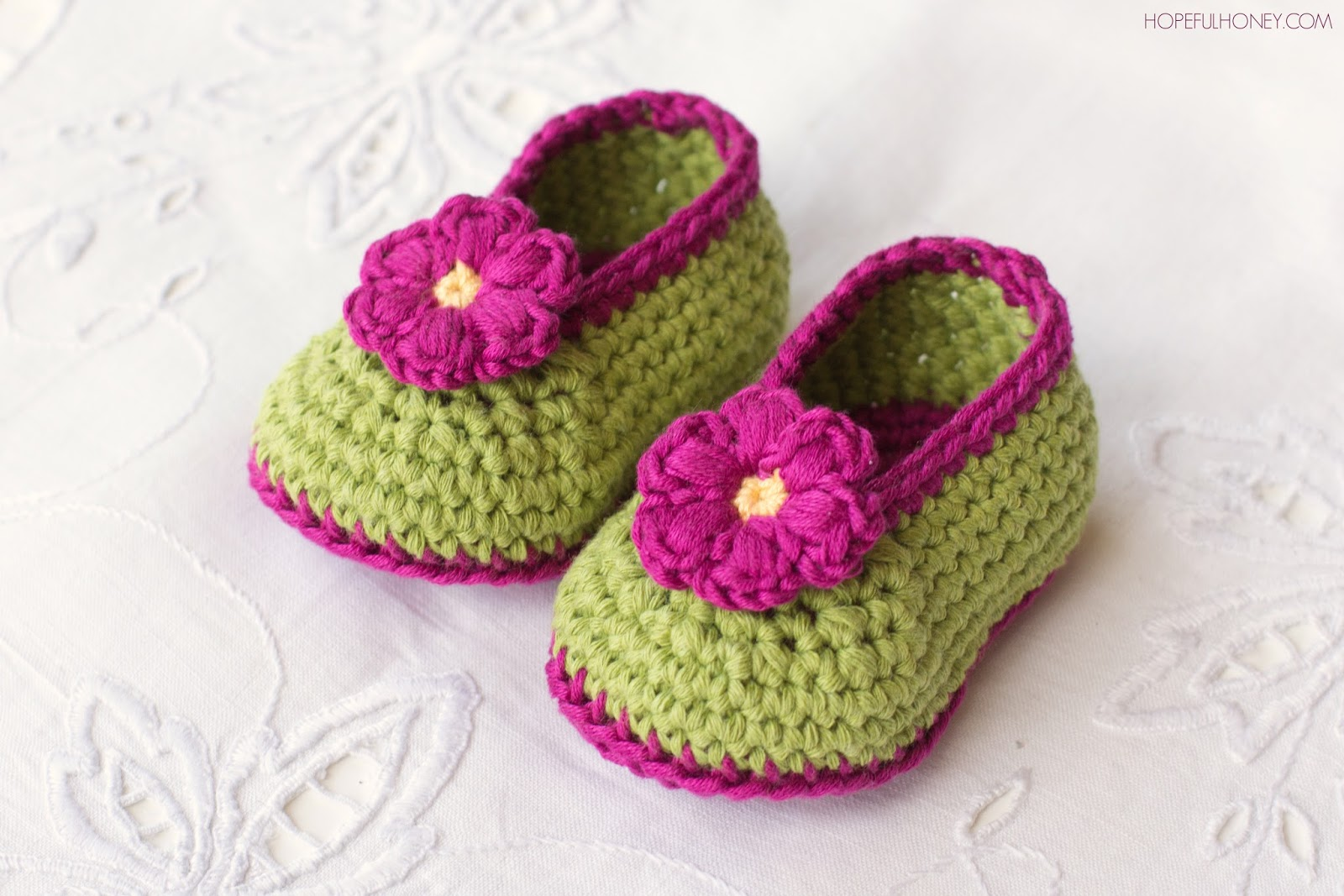 Crochet Baby Booties Written Pattern : Hopeful Honey Craft, Crochet, Create: Fairy Blossom Baby ...