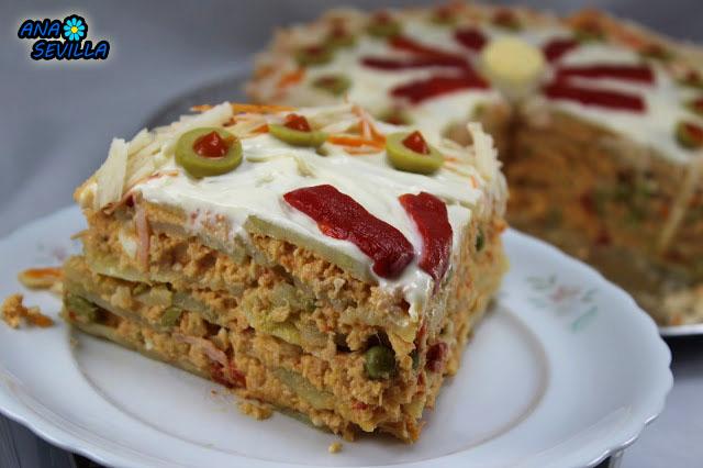 Tarta de ensaladilla Ana Sevilla Cocina tradicional
