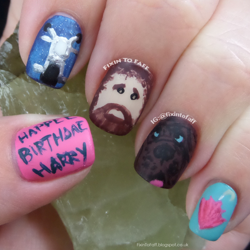 Nail art tribute to Rubeus Hagrid, Keeper of Grounds and Keys at Hogwarts for Magical Mondays collaboration with Belle Glamour.