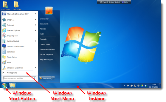 Windows Taskbar, Start Button and Start Menu