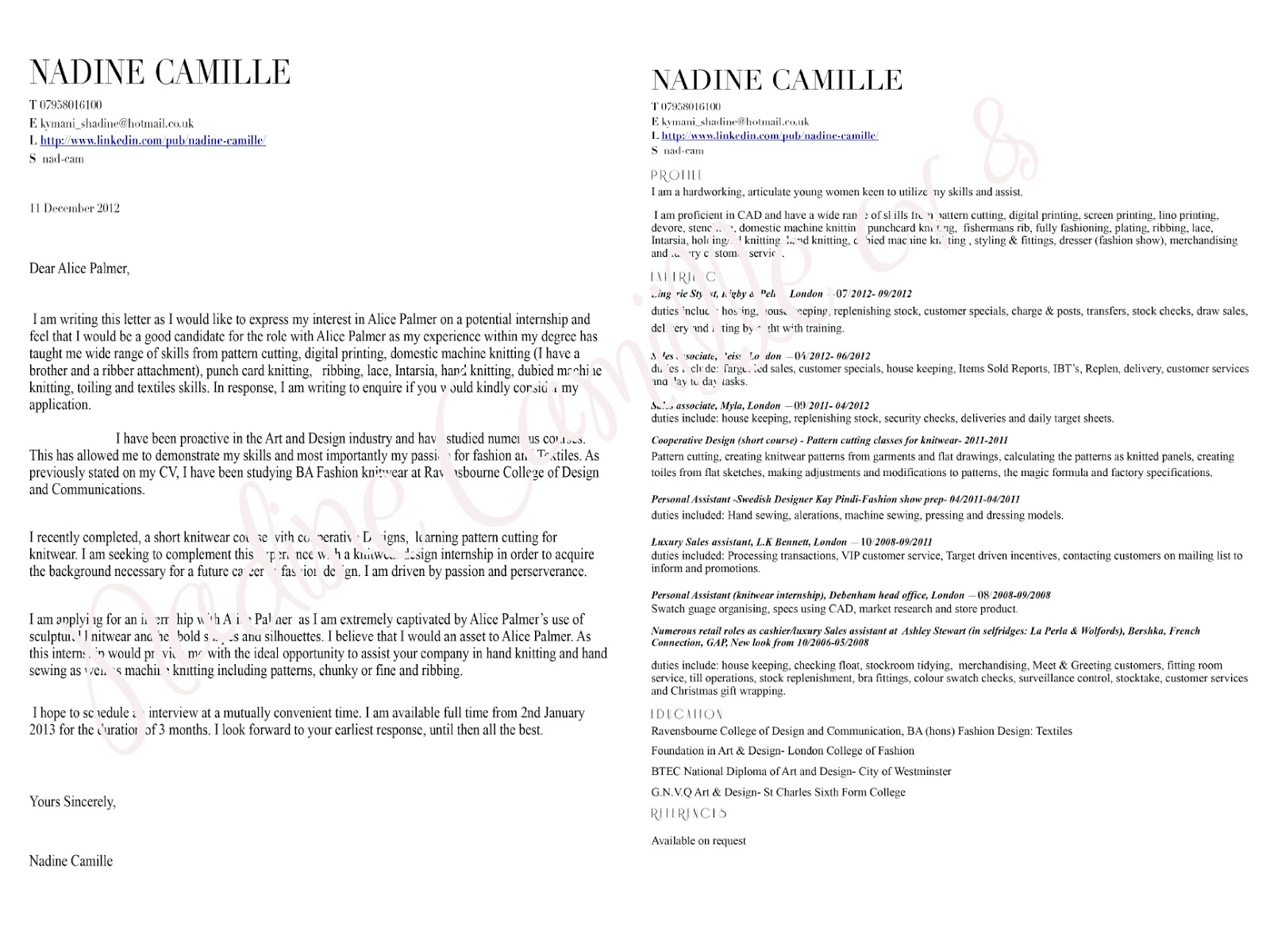 Cover Letter For Cv Free Job Cv Example