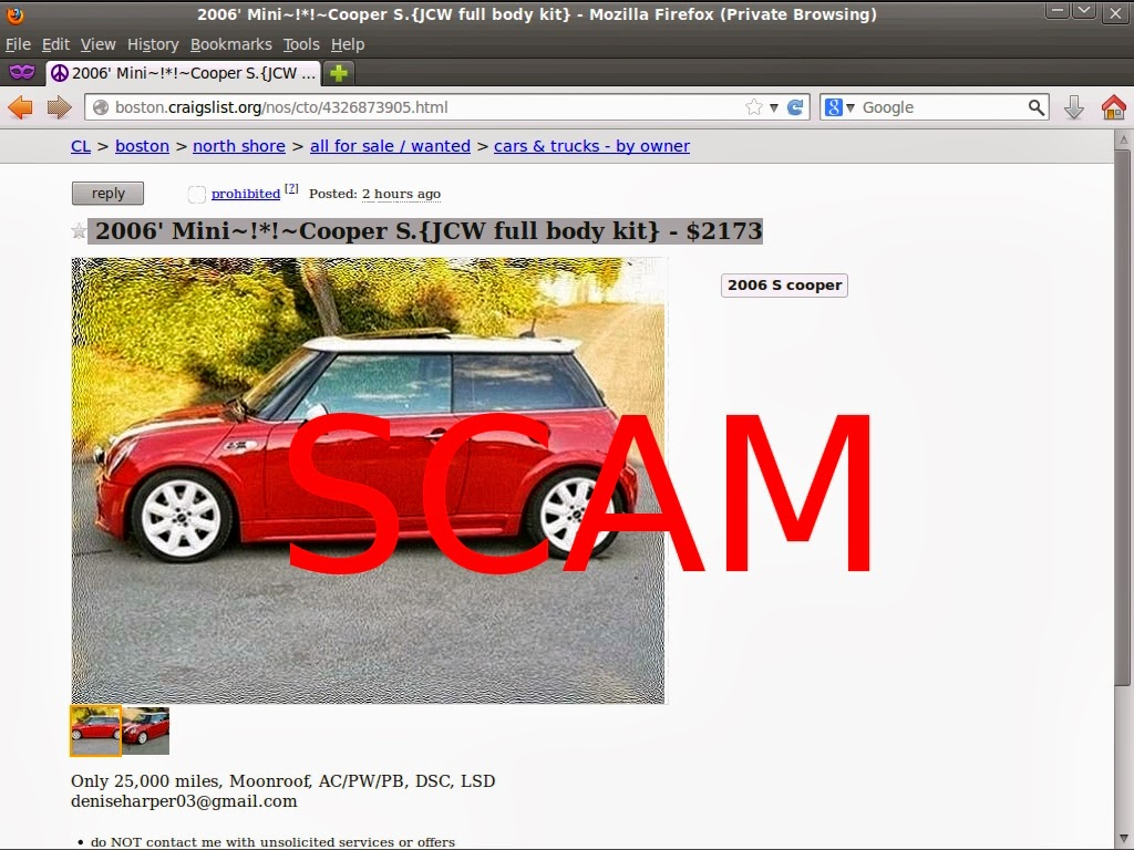 Craigslist Car Scam List for 02 10 2014
