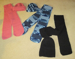 3 crocheted hats and scarves