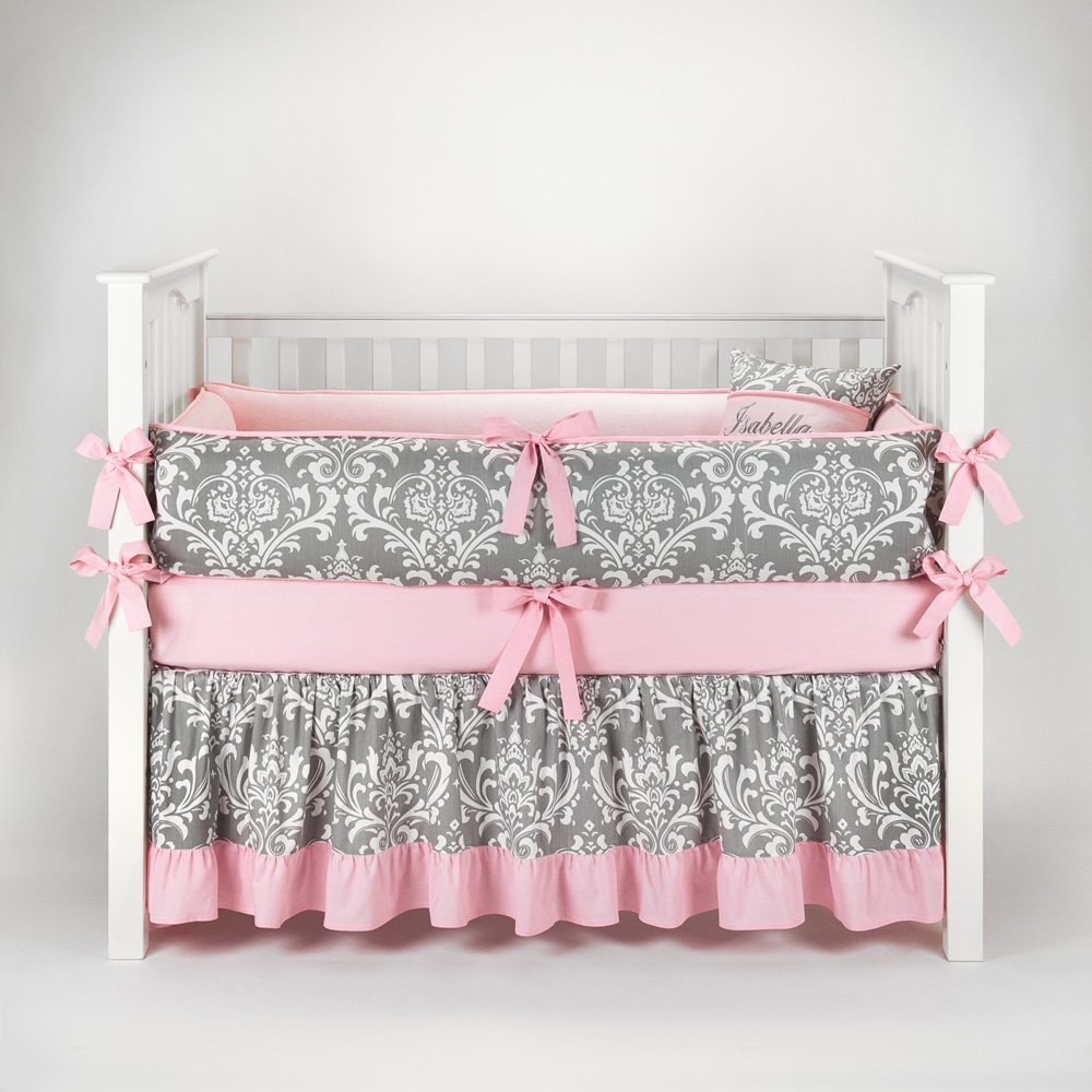 Pink and grey crib bedding sets for baby girls 39 nursery for Baby mobile pink and grey