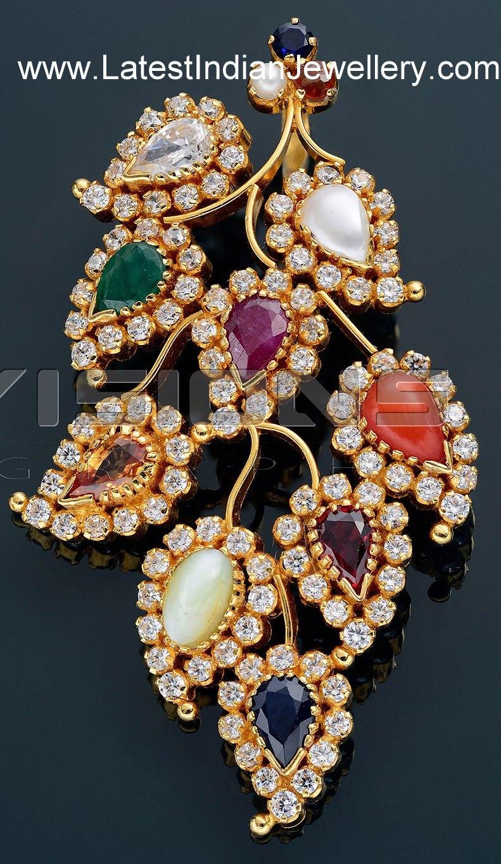 unique designer navaratna pendant in leafy design