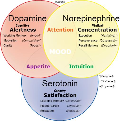 Serotonin levels and sex