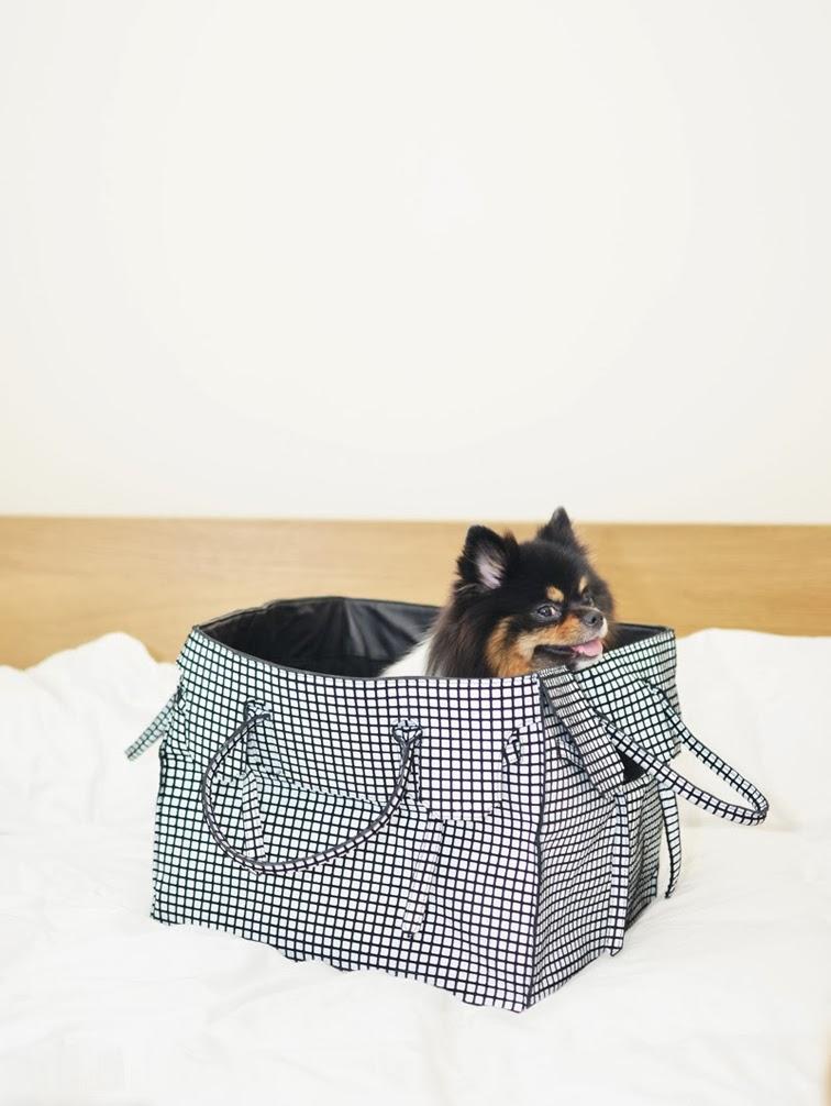 Stop it Right Now Jayne Min's pomeranian dog, geometric print carry all bag
