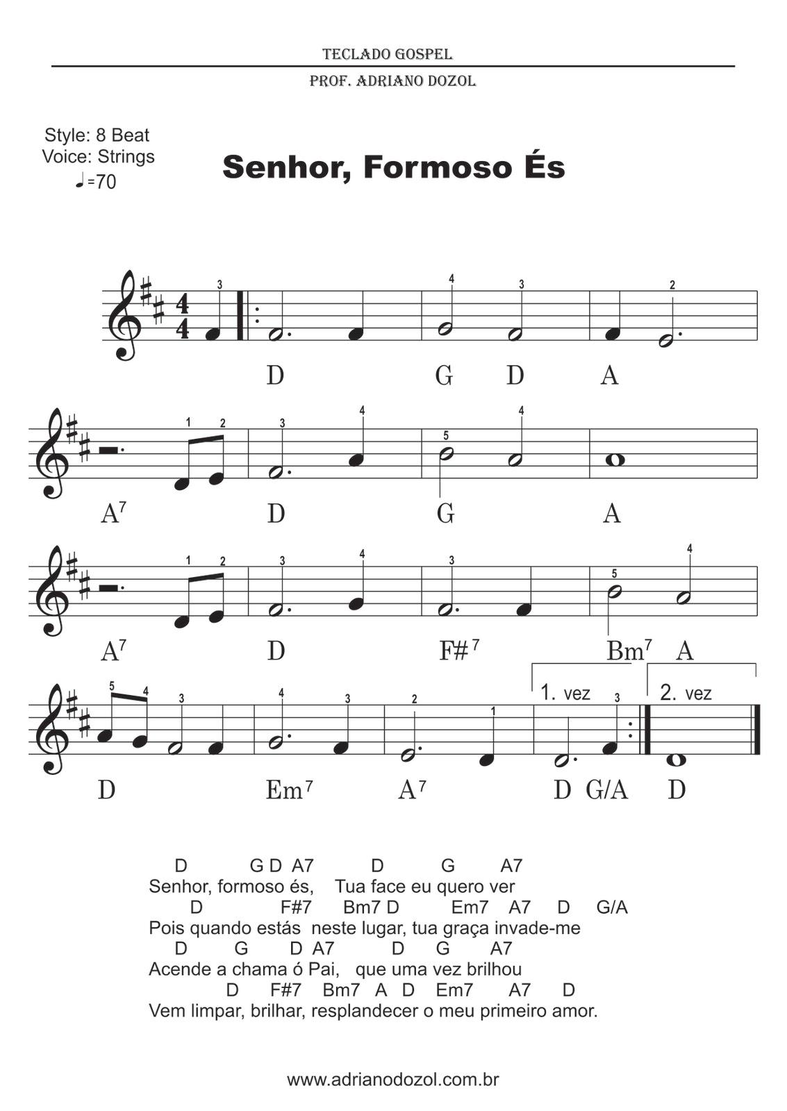 Populares Adriano Dozol - Dicas, Partituras Grátis e Vídeos - Teclado | Piano YL54