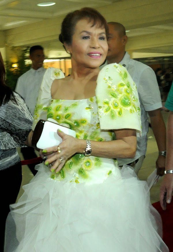 Mommy D wearing her gown for SONA 2014