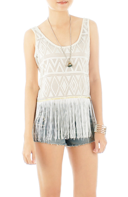 Fringe Festival Crochet Top - Cream