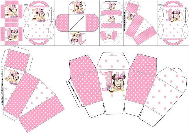 Minnie Primer Año con Lunares: Cajas para Imprimir Gratis.