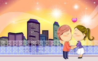 romantic cartoons hd wallpaper
