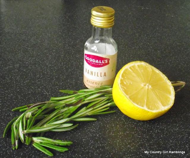 <lemon, vanilla and rosemary air freshener>