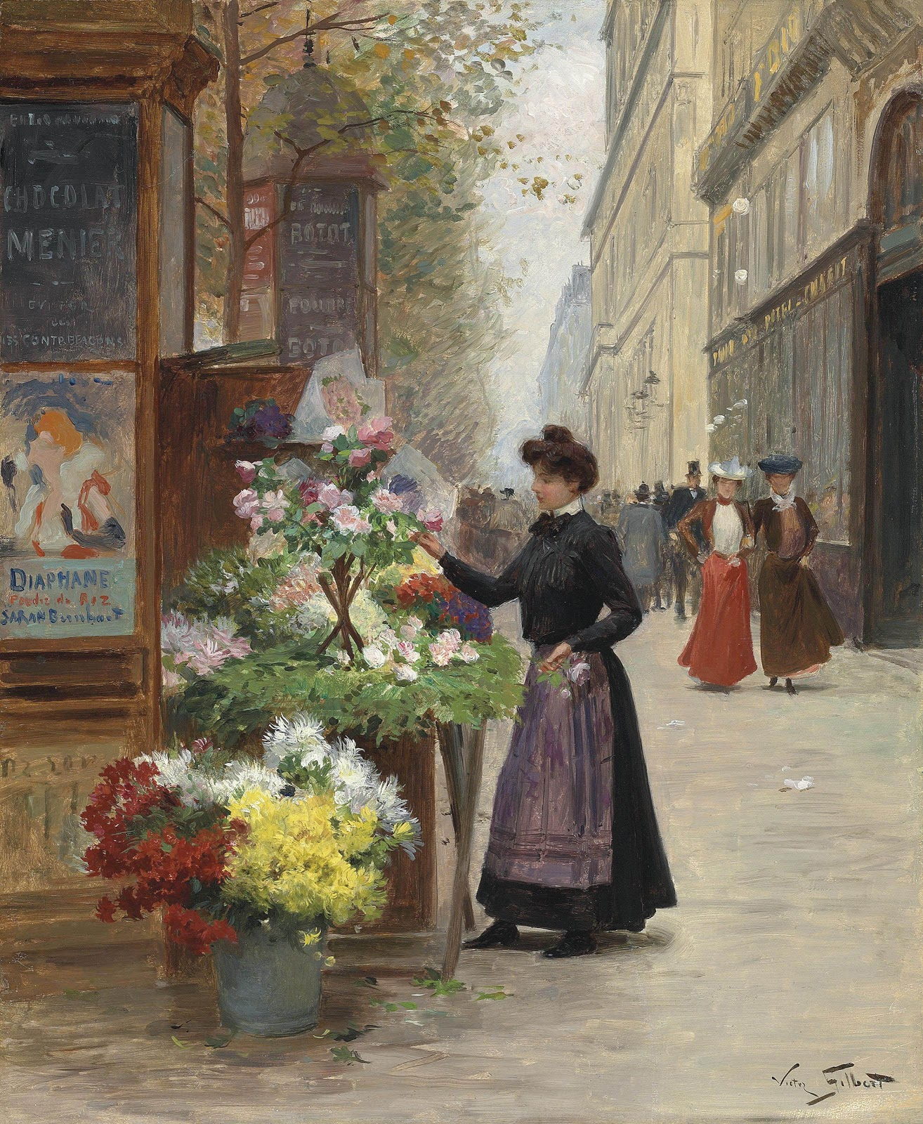 Victor Gabriel Gilbert Florist on a Paris boulevard