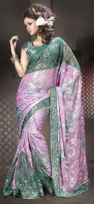 green velvet border saree