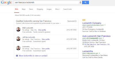 A snippet of a Google Search with Home Service Ad results.