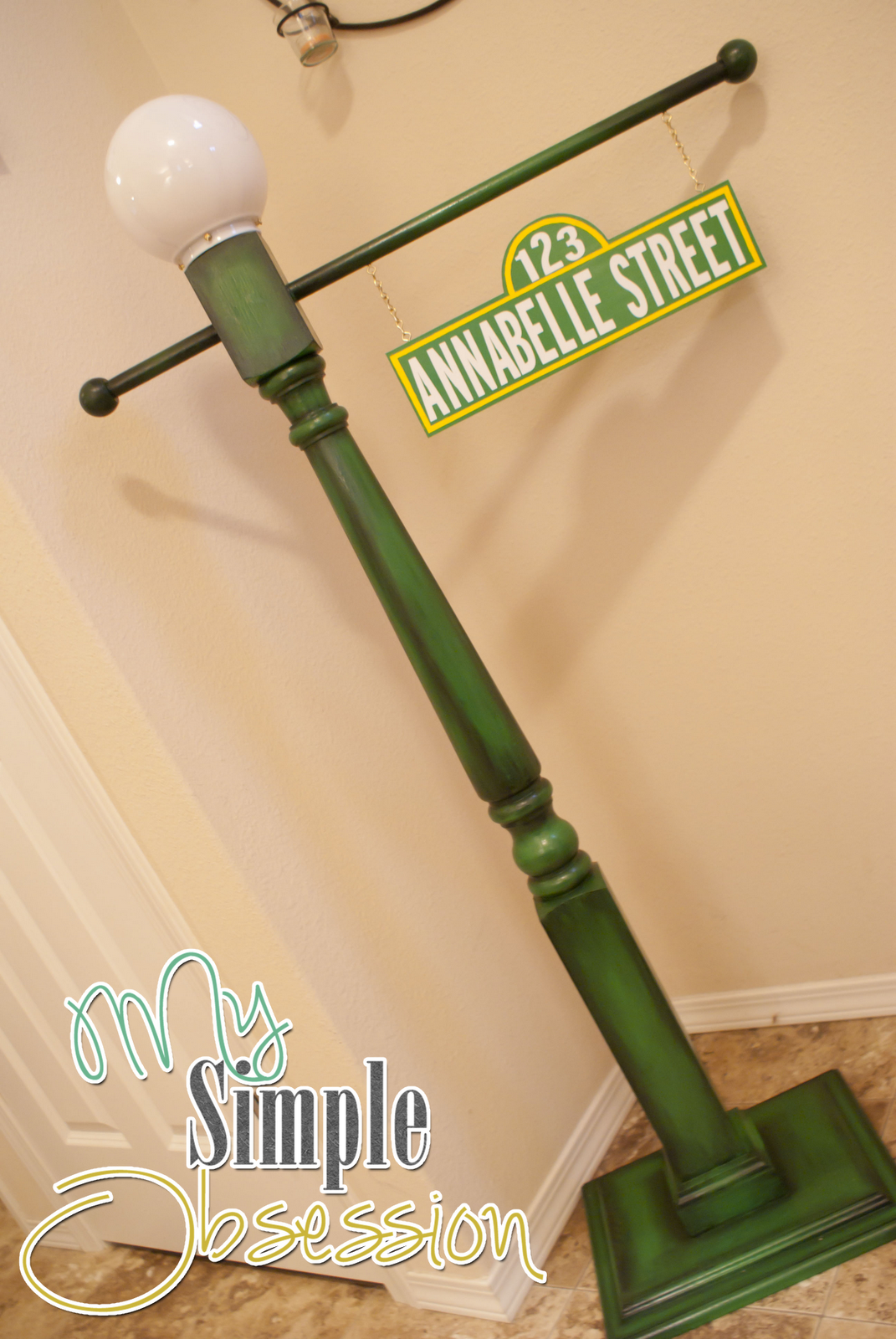 My simple obsession sesame street post sign tutorial almost everything we bought for this project can be found at home depot the only things that i got else where were the wood knobs and the 2 plaques which i aloadofball Choice Image