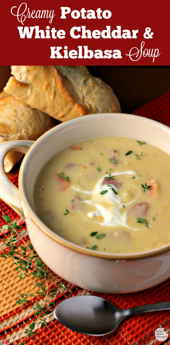 Creamy Potato, White Cheddar, and Kielbasa Soup   by Renee's Kitchen Adventures - msg 4 21+ Easy, hearty soup recipe perfect for the cooler weather!  A taste of old world Oktoberfest #OktoberfestontheFarm ad