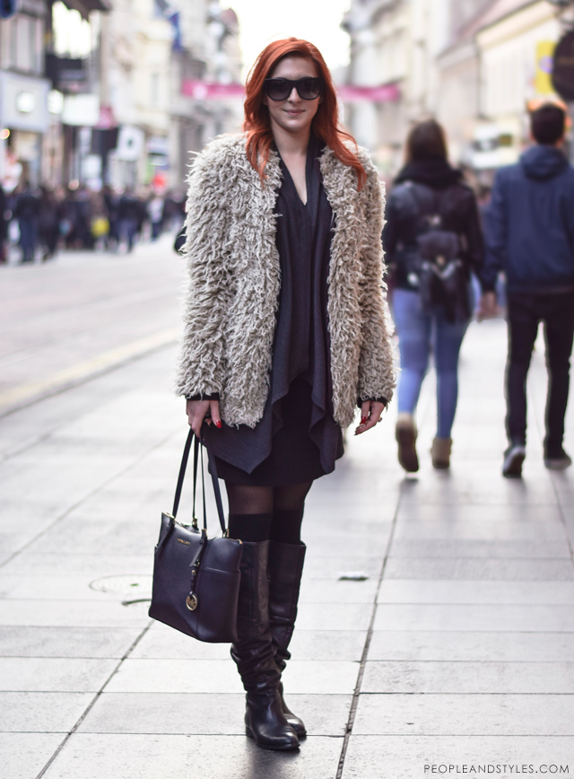 Ulična moda: kako cure u Zagrebu nose čizme preko koljena. Winter chic boots style: how to wear over the knee boots - street fashion inspirations, Antonia Grgičević s Hvara, ekonomistica