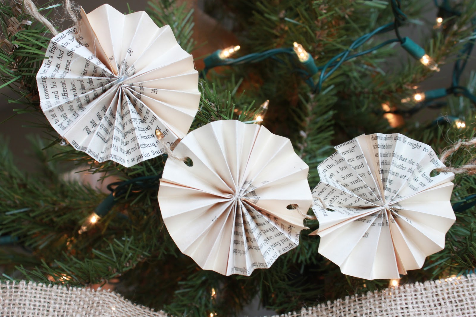 Book Page Christmas Ornament Tutorial... - Love of Family & Home