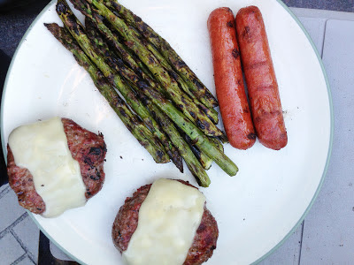 asparagus, cheeseburgers, hot dogs