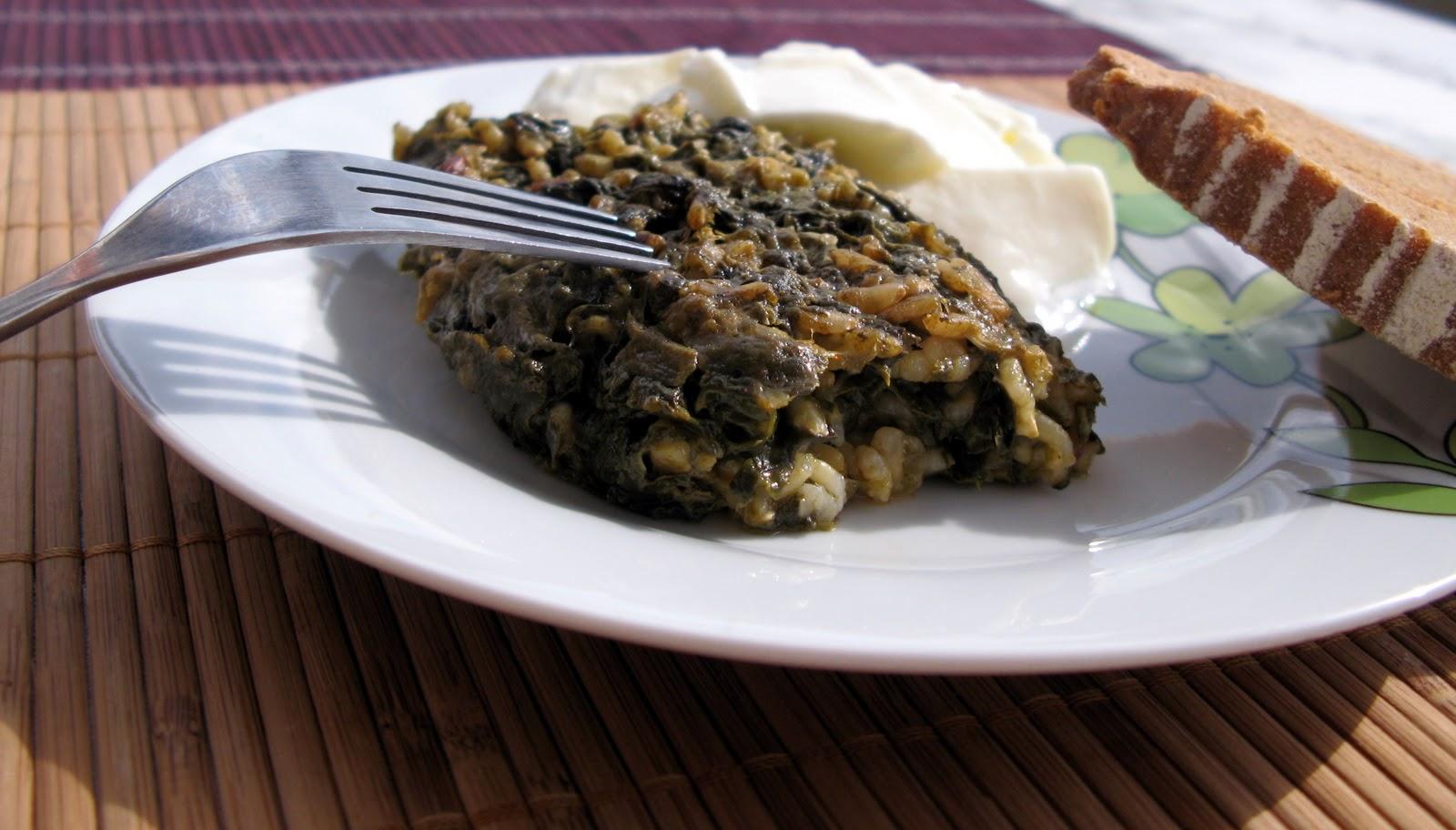 Лапад (спанак) с ориз на фурна