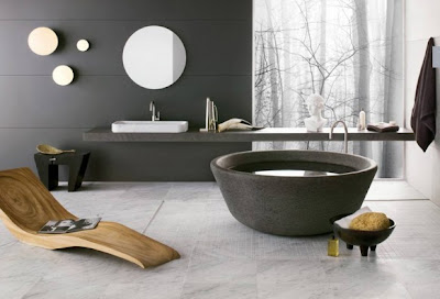 Bathroom with basaltina stone SPA bathtub