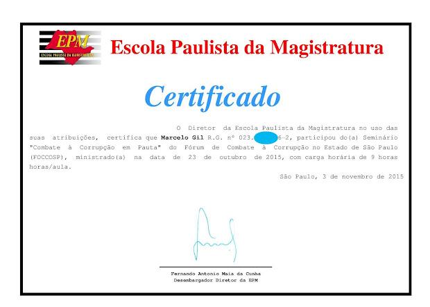 CERTIFICADO DE PARTICIPAÇÃO DO CICLO DE PALESTRAS DA ESCOLA PAULISTA DE MAGISTRATURA - 2015
