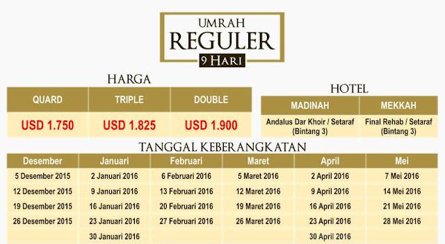 Biaya Paket Umroh Bulan Desember (Akhir Tahun) 2015